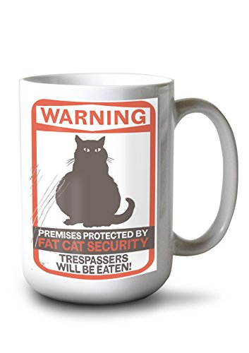 Warning Ceramic Travel Mug - Warning - Fat Cat (15oz White Ceramic Mug)