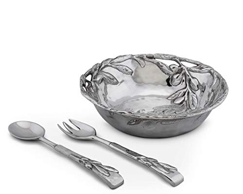 Arthur Court Sand-Cast Aluminum Salad Set; Olive Pattern, 3 pieces, 12