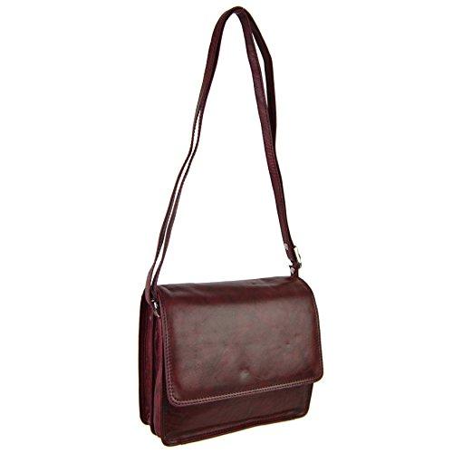 Sirco Leatherwares - Bolso cruzados para mujer Marrón blanco crema morado oscuro