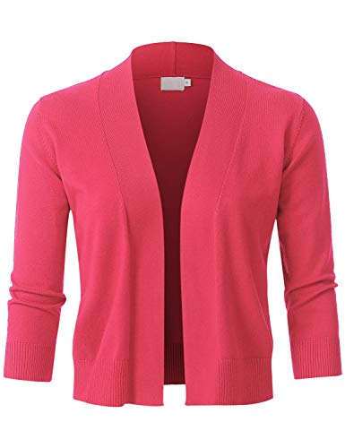 JSCEND Womens Classic 3/4 Sleeve Open Front Cropped Bolero Cardigan Coral L ()
