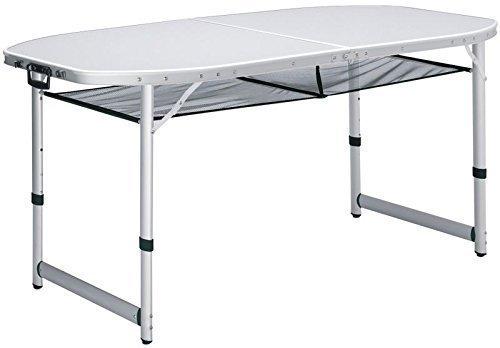 XXL Alu Campingtisch 150x80cm, extra großer stabiler Koffertisch, wetterbeständig durch aluminiumbeschichtete Platte, große Netzablage