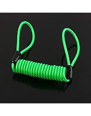 Cable de recordatorio de resorte de alarma de motocicleta, verde Impermeable Disco de bloqueo Cable de recordatorio de seguridad Scooter Moto Moto Anti ladrón Seguro para Scooter Moto Disco de freno