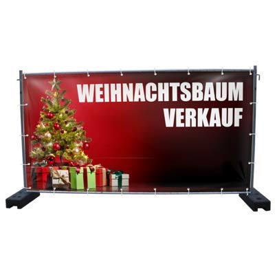 340 x 173 cm | Weihnachtsbaumverkauf B3 Bauzaunbanner, Sichtschutz, Werbebanner, Weihnachten Warenfux24