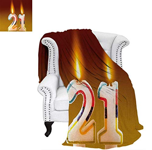 Nicely 21st Birthday Throw Blanket Rainbow Colored Candlesticks on The Party Cake Abstract Marigold Color Image Swaddle Blanket 60 x 50 inch Multicolor