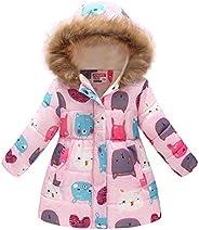 RACHAPE Girls' Winter Down Coat Puffer Jacket Padded Fleece Lining Faux Fur Hood Warm Butterfly Over