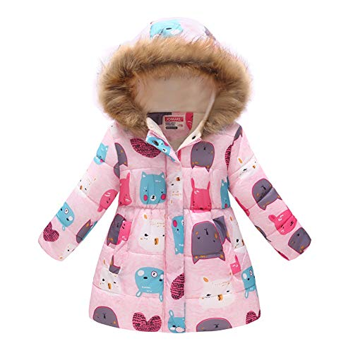 Girls' Winter Down Coat Puffer Jacket Padded Fleece Lining Faux Fur Hood Warm Butterfly Overcoat Pink]()