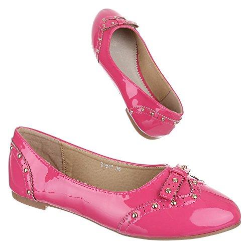 Ital-Design - Bailarinas de Material Sintético para niña Rosa - rosa