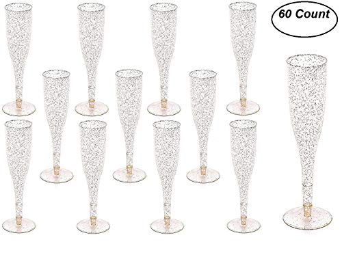 - 60 pc Gold Glitter Classicware Glass Like Champagne Wedding Parties Toasting Flutes (1 Box = Quantity 60)