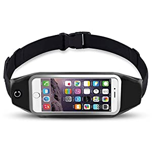 "Running Belts, Viyear Waist Pack Fanny Pouch, iphone, Samsung, LG Phone Smartphone Accessory Holder for Runners, Fitness Dual Bag for Hands Free Workout ( Black 5.5"" )"