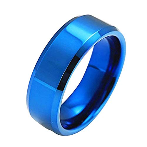 - FEDULK Unisex Fashion Simple Rings Lovers Stainless Steel Mirror Finger Rings Jewelry Couple Gifts(6, Blue)