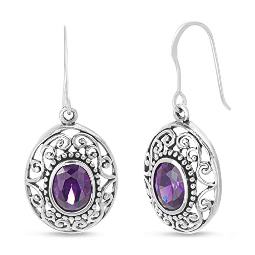 (WILLOWBIRD Simulated Amethyst Filigree Border French Wire Dangle Earrings for Women In Oxidized 925 Sterling Silver)