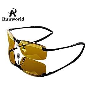 Runworld Mens HD Night View Night Vision Anti-glare Non-polarized & Polarized Wayfarer Avaitor Rimless Wraparound Wrap around Driver's Yellow Driving Glasses Sunglasses Goggles (Black3043)