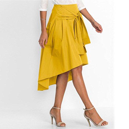 ESAILQ Work Ladies Mini Jaune Skirt Women Skirt Length Casual Flared Office Knee Skater FwxUFv6qr