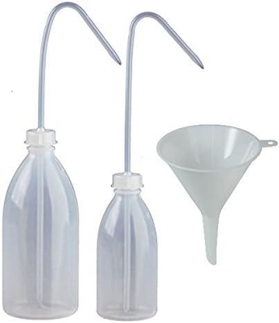 mikken - Juego de 2 botellas de laboratorio de 250 ml y 500 ml, de plástico, sin BPA, fabricado en Alemania, incluye embudo de llenado, transparente
