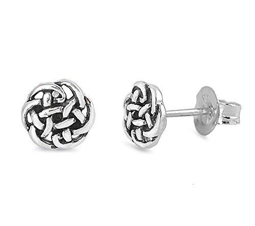 (Sterling Silver Celtic Knot Stud Earrings - 5mm)