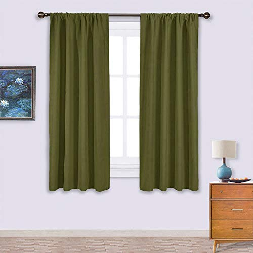 NICETOWN Window Curtains Blackout Drapes - Thermal Insulated Solid Rod Pocket Blackout Curtains/Draperies for Living Room (One Pair,42 by 63-Inch,Olive Green) ()