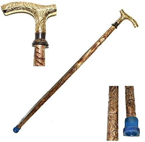 "Globe Brass Handle walking Brown cane stick victorian antique solid 37/"" Gift"