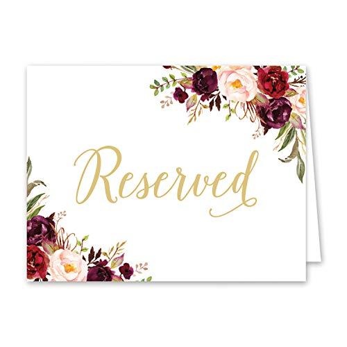 8 Pack- Reserved Wedding Table Signs - Folded