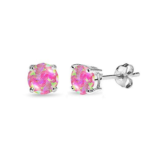 Sterling Silver Simulated Pink Opal 5mm Round-Cut Solitaire Stud -