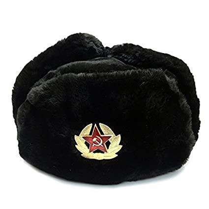 f03cfc2b15c Image Unavailable. Image not available for. Color  Black Fur Winter Ushanka  Hat with RED ...