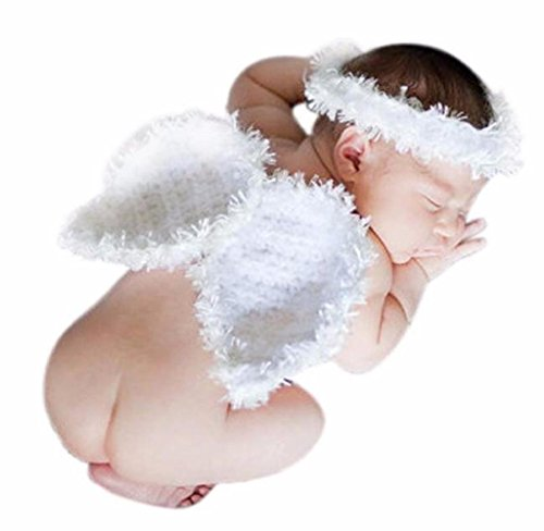 Singleluci Newborn Baby Girls Boys Photography Prop tutu Dress Costume Outfits (0~1 years old, White)