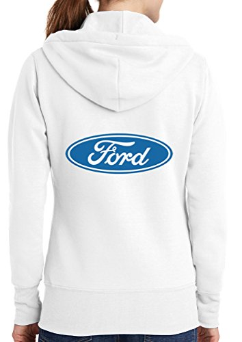 Womens Ford Logo Full Zip Hoodie, White, 4X