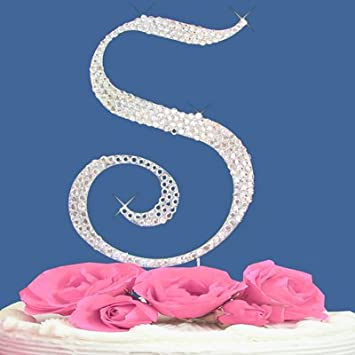 Amazoncom Monogram Wedding Cake Topper Letter with Crystals 1