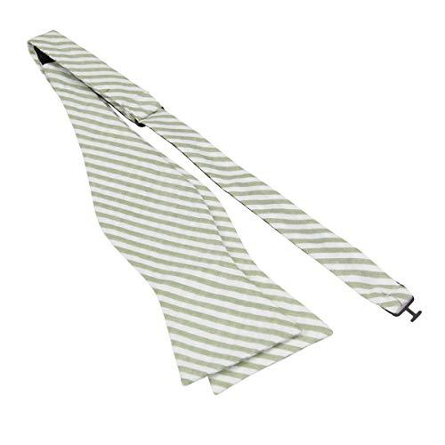 Mens 100% Cotton Seersucker Stripe Self Tie Bowties-Stripe Bow Ties-Various Colors (Sage Green)