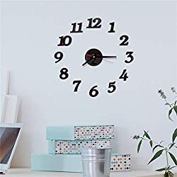 Wall Stickers, Tomppy 3D DIY Roman Numbers Acrylic Mirror Wall Paper Clock Home Decor Waterproof Removable and Reusable Wall Mural Decals for Kids Living Nursery Room Bedroom Wall Decoration (Black)