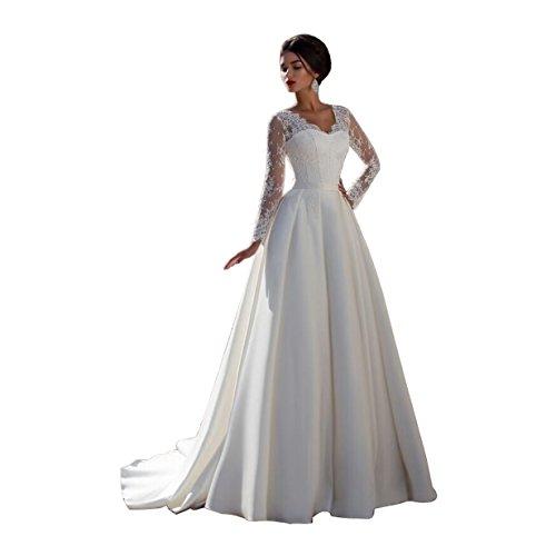 DingDingMail Satin Wedding dresses 2017 V-neck Long Sleeves Wedding Dresses Wedding Gowns (079) by DingDingMail