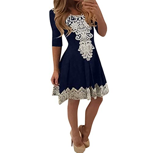TRENDINAO Women Sexy Lace Dress Patchwork Pleated Cute Long Sleeve Crew Neck Casual Print Mini Dress Navy