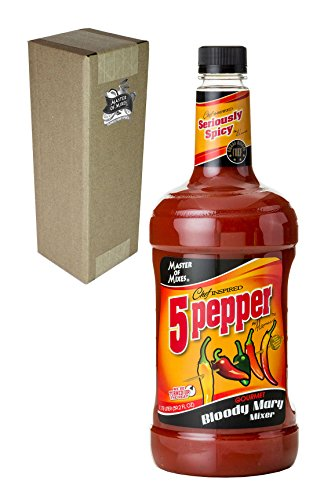 (Master of Mixes 5 Pepper Extra Spicy Bloody Mary Drink Mix, Ready To Use, 1.75 Liter Bottle (59.2 Fl Oz), Individually Boxed)