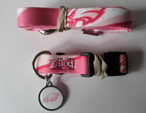 Hunter Philadelphia Eagles Pet Collar, Lead and ID Tag Combo Set, Medium, Pink