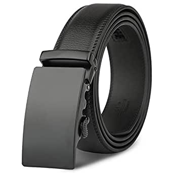 Mens Leather Belt - M.R Black Genuine Leather Belt with Stylish Ratchet Buckle
