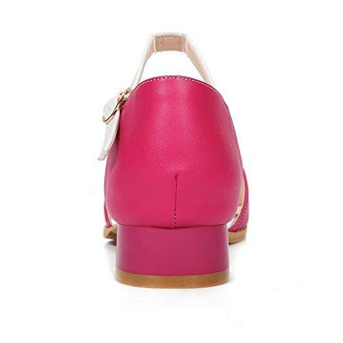 VogueZone009 Women's Buckle Open Toe Low-Heels PU Assorted Color Sandals Rosered zYDokfw