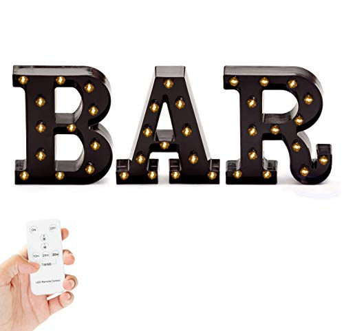 Marquee BAR Sign Lights – Light Up Black B-A-R Letters Home Decor Business Signs – Battery Operated LED Remote Control – Lighted Vintage DIY Accessories & Decorations Bar