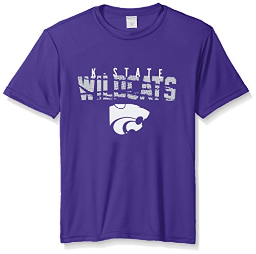 NCAA Kansas State Wildcats Youth Boys Destroyed Short sleeve Polyester Competitor T-Shirt, Youth Medium,Purple