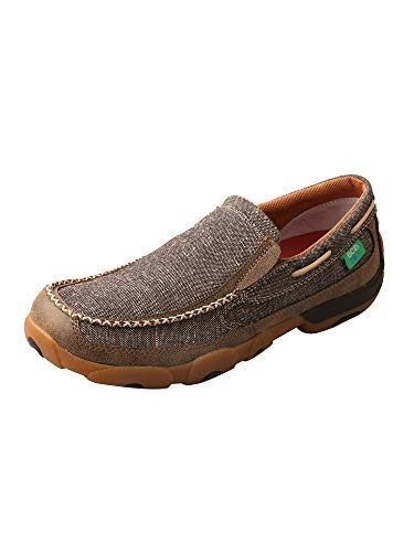 Twisted X Men's ECO D Toe Leather Driving Moccasins Casual Boat Shoes - Dust -