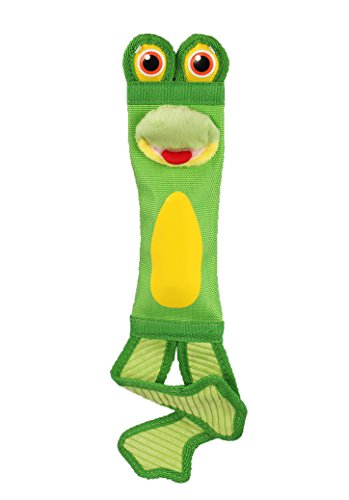 Petlou Fire Hose Frog 16-Inch Tug Dog Toys with Squeaks and Crinkle. - 16in Dog Toy
