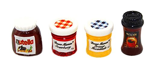 Gracefulvara 4pcs Kitchen Food Jam Coffee Condiment Random for 1:12 Dollhouse Miniature