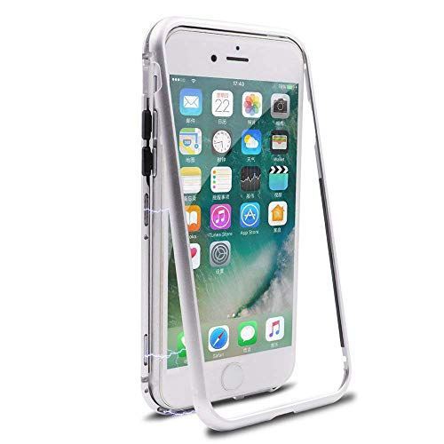 (iPhone 7 Case,iPhone 8 Case, MISSCASE Ultra Slim Magnet Protective Case with Metal Frame Tempered Glass Back [Magnetic Adsorption Technology] [Support Wireless Charging](White Frame + Clear Back))