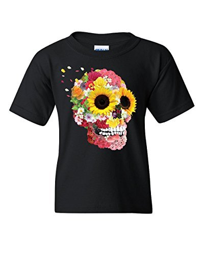 Sunflowers Sugar Skull Youth T-Shirt Day Of The Dead Calavera Mexico Kids Tee Black M (Boys T-shirt Sugar)