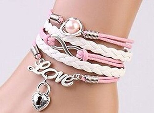 iVan Boys / Girls Leather Metal Multilayer Braided Friendship Love Lock Heart Beads Charm Bracelets (Dance Costume Suppliers Uk)