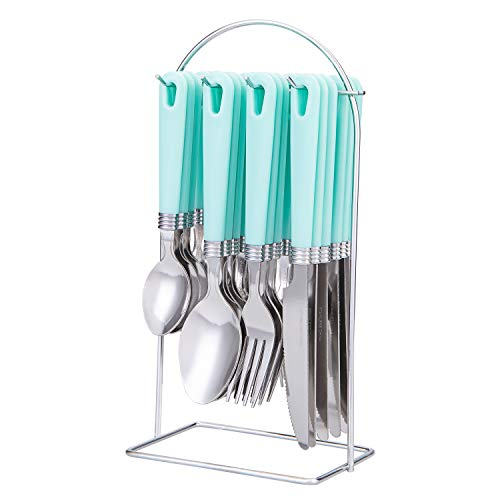 Cutiset 25 piece Stainless Steel Flatware Set with Hanging Caddy (Green, 25-Piece)