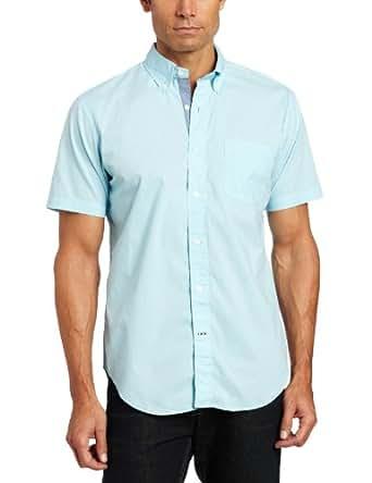 Nautica Men's Short Sleeve Poplin Solid Woven, Bait Cast Blue, Small