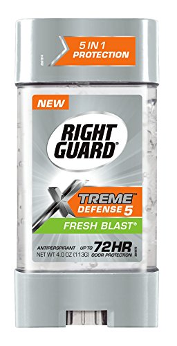 Right Guard Xtreme Defense 5 Antiperspirant Deodorant Gel, Fresh Blast, 4 Ounce (Pack of 6)
