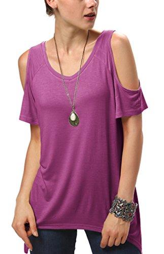 (Urban CoCo Women's Vogue Shoulder Off Wide Hem Design Top Shirt - Large - Fuchsia Rose)
