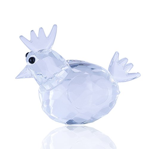 H&D Clear Crystal Rooster Figurine Collection Paperweight Table Centerpiece Ornament