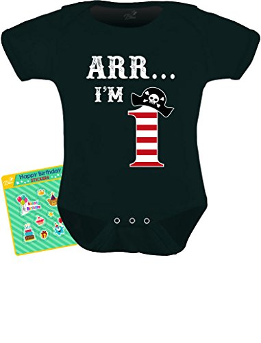 - Tstars TeeStars - Arr I'm 1 - Pirate Birthday Party Gift For One Year Old Baby Bodysuit 18M Black