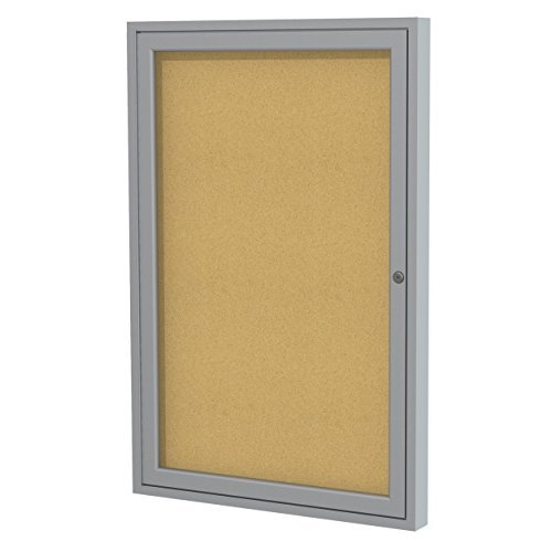 Ghent 36x30 1-Door Satin Aluminum Frame Enclosed Bulletin Board, Natural Cork, Made in the USA by (1 Door Enclosed Natural)